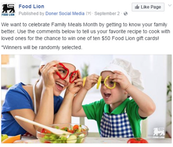 Food Lion National Family Meals Month Social Media Promotion