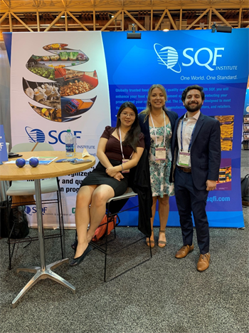 mg-caption: SQFI and FMI teams highlighted the importance of implementing globally-recognized food safety codes to IFT19 attendees. Left to right: Kathy Chiao, Leslie Jones and Adam Friedlander