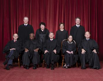 mg-caption:Front row, left to right: Associate Justice Stephen G. Breyer, Associate Justice Clarence Thomas, Chief Justice John G. Roberts, Jr., Associate Justice Ruth Bader Ginsburg, Associate Justice Samuel A. Alito. Back row: Associate Justice Neil M. Gorsuch, Associate Justice Sonia Sotomayor, Associate Justice Elena Kagan, Associate Justice Brett M. Kavanaugh.