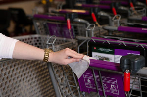 cleaning grocery cart