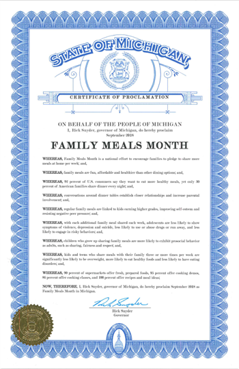 2018 Michigan Family Meals Proclamation