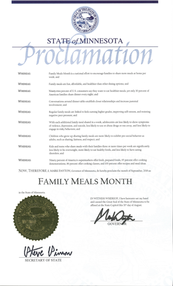 2018 Minnesota Family Meals Proclamation