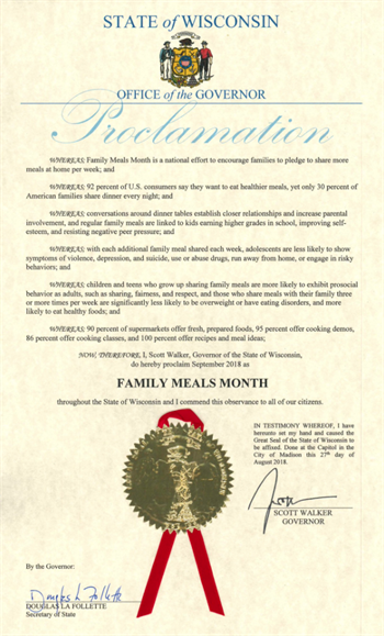 2018 Wisconsin Family Meals Proclamation