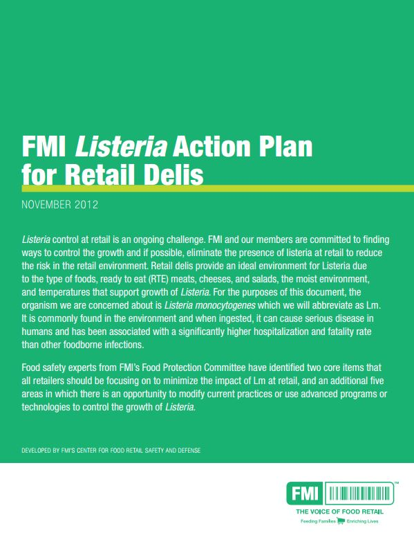 Listeria Action Plan Delis cover