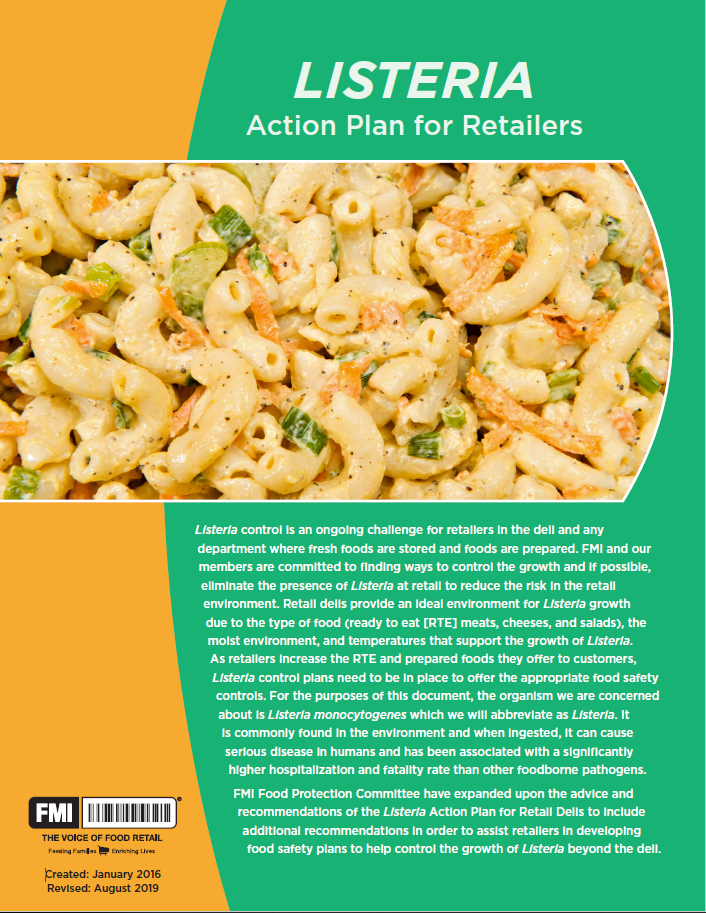 Listeria Action Plan for Retailers 2019 Cover Image