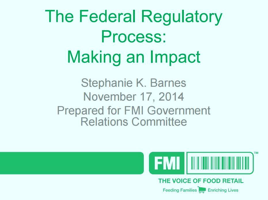 FMI | Food Marketing Institute | Regulatory