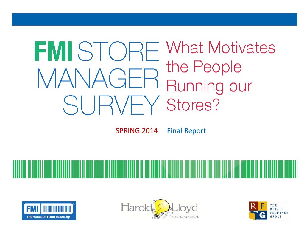 2014 Store Manager Survey