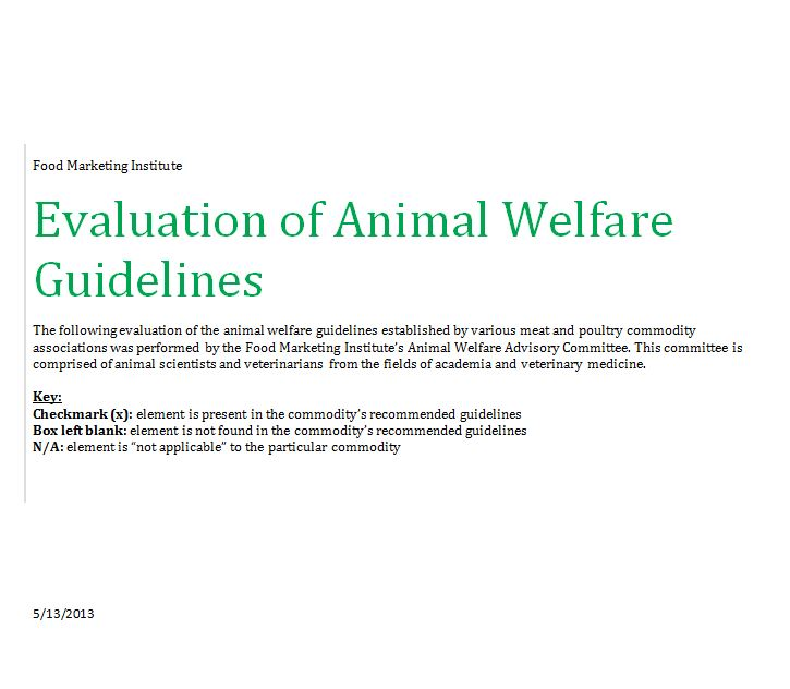 Evaluation of Animal Welfare Guidelines