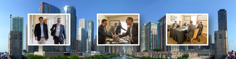 Images of business partner meetings superimposed over the Chicago skyline